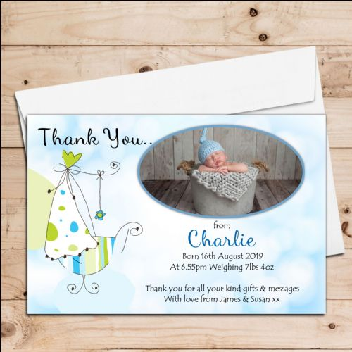10 Personalised Baby Boy Birth Announcement Thank You PHOTO cards N86